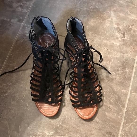 official shop latest fashion discount sale Carlos Santana Shoes | Women Black Gladiator Sandals | Poshmark